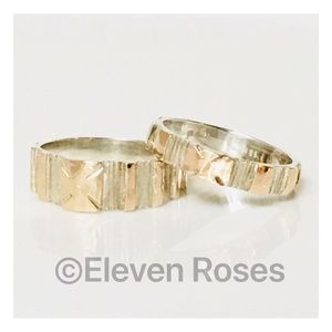 Sterling Silver & 18k Band Ring Set